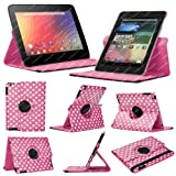 Stuff4 MR-NX7-L360-PD-DPW-STY-SP Polka Dot Designed Leather Smart Case with 360 Degree Rotating Swivel Action and Free Screen Protector/Stylus Touch Pen for 7 inch Google Nexus 7 - Deep Pink/White