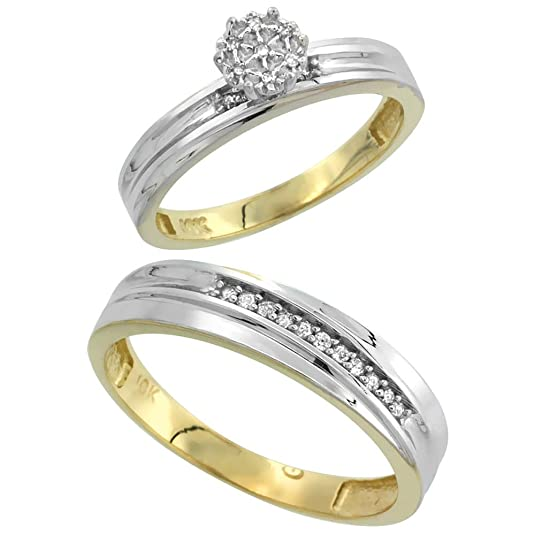 9ct Gold 2-Piece Diamond Ring Set, 3mm Engagement Ring & 5mm Man's Wedding Band