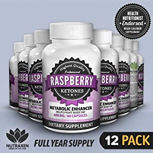 NutraXen - Enhanced Raspberry Ketones - 100% Natural Metabolic Enhancer - 12 Bottles