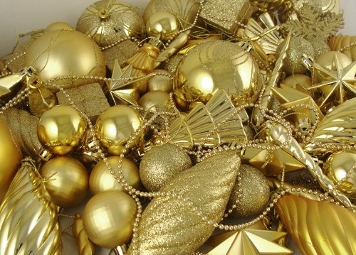 125-Piece Club Pack of Shatterproof Gold Glamour Christmas Ornaments