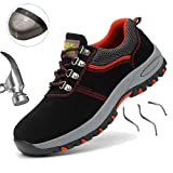 SUADEX Safety Shoes for Men, Waterproof Lightweight Puncture Proof Steel Toe Sneakers, Indestructible Construction Work Shoes for Men and Women, Red 36 (Color: 117 Red, Tamaño: 6)