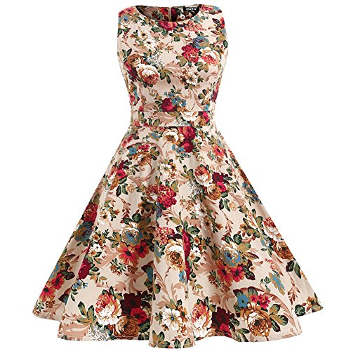 OWIN Women's Vintage 1950's Floral Spring Garden Picnic Dress Party Cocktail Dress 5