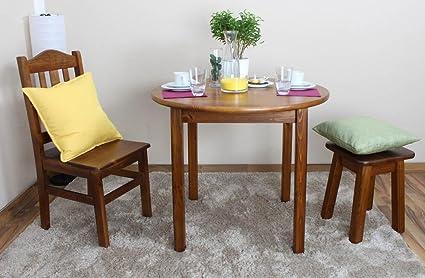 Tisch rund 90x90 cm Kiefer massiv, Farbe: Eiche
