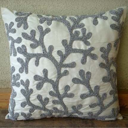 Silver Coral - 26X26 Inches Square Decorative Throw White Silk Euro Sham Covers With Silver Bead Embroidery front-784191