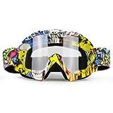 Zdatt Professional Adult Motocross Goggles Clear Lens Dirtbike ATV Motorcycle Gafas UV Protection Motorbike Ski Snowboard Goggles (Color: White, Tamaño: 1)