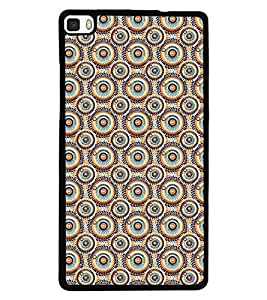 Fuson Premium Circles Pattern Metal Printed with Hard Plastic Back Case Cover for Huawei P8
