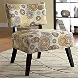 Coaster Home Furnishings 902116 Swirl Pattern Contemporary Armless Accent Chair, Beige