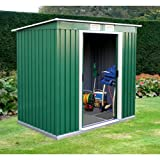 NEW TRUESHOPPING METAL GARDEN GREEN WORKSHOP STORAGE PENT SHED 4' X 8' FT WITH FREE METAL FOUNDATION