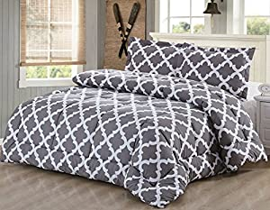 Printed Queen-Comforter-Set Grey - Luxurious Soft Brushed Microfiber - Goose Down Alternative Cozy, Warm & Comfortable Comforter with 2 Pillow Shams - Exceptionally Durable - By Utopia Bedding
