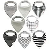 ALVABABY Unisex 8 Pack of Super Absorbent Baby Bandana Drool Teething Bibs for Boys and Girls, Best Baby Shower Gifts Set 8SD05 (Color: 8pcs Set (B), Tamaño: All in one)