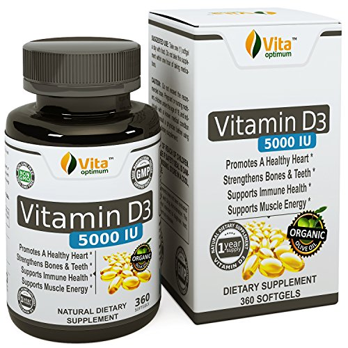 Vitamin D (D3) Pills 5000 IU by Vita Optimum - 360 softgels with Organic Olive Oil - Made in USA - 1 Year Supply (Vitamin D 3000 compare prices)