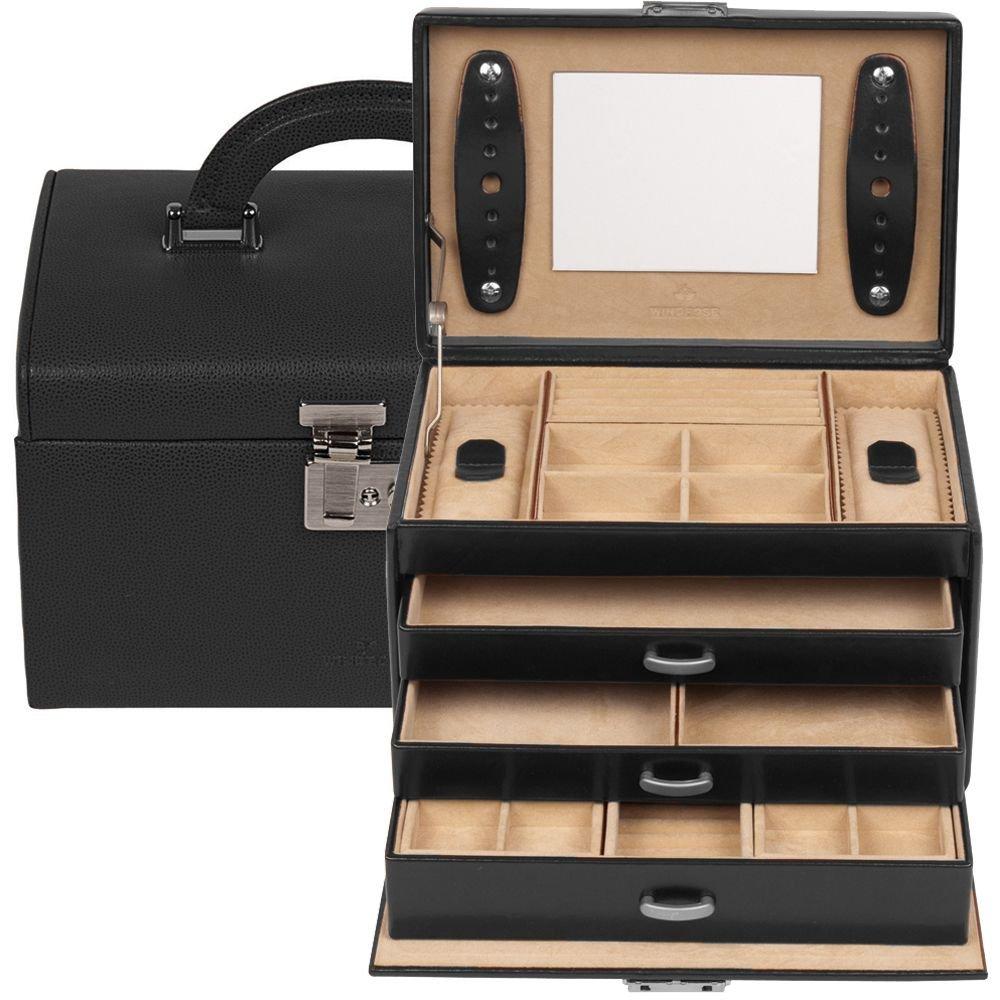 Windrose Classico Schmuckkoffer 24,5 cm Leder schwarz online bestellen