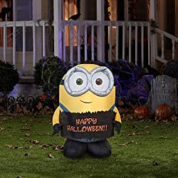 3 Ft Minion Bob Holding Happy Halloween Sign Airblown...