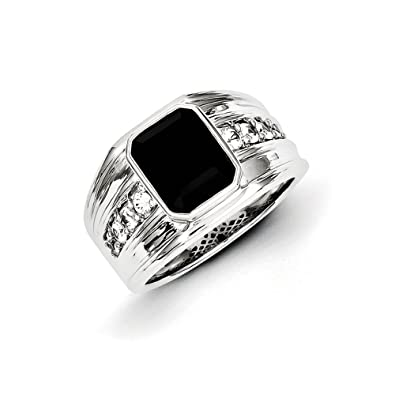 Black Bow Jewellery Company : Black Onyx & White Sapphire 12mm Tapered Ring in Sterling Silver