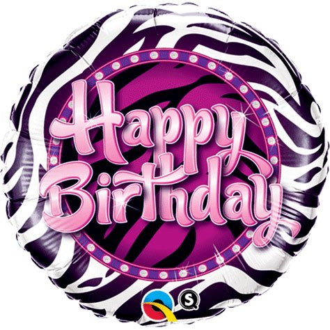 PIONEER BALLOON COMPANY 38070 Birthday Zebra Print Balloon Pack, 18""