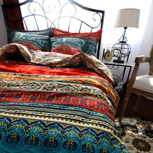 TideTex Bohemia Retro Printing 4PC Bedding Ethnic Vintage Floral Ornament Duvet Cover Boho Rural Style Bedding 100 Pure Cotton Home Textiles (Queen, Photo Color 5) 1