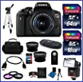 Canon EOS Rebel T6i DSLR Camera with 18-55mm Lens (USA Warranty) + 58mm High Quality 2.2X Telephoto & .43X Wide Angle Lenses + Auto Power Flash + 48GB Accessory Bundle Kit