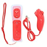 EdSAP Built in Motion Plus Remote Game Control for Nintendo Wii and Wii U Remote and Nunchuk Controller with Protective Silicon Case (Red) (Color: Red)