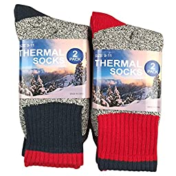 TeeHee Recycled Cotton Thermals Boot Socks S/50766 Red + Blue 4 pairs, Size 10-13