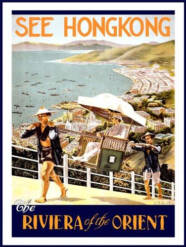 TRAVEL TOURISM HONG KONG RIVIERA ORIENT USA VINTAGE ADVERTISING POSTER 2399PY