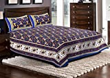 Kismat Collection Printed Jaipuri & Sanganeri Cotton Double Bedsheet With 2 Pillow Cover