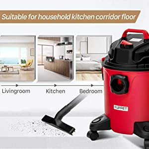 KUPPET 3-in-1 Wet/Dry Vacuum Cleaner, Shop Vacuum with Attachments, 5 Gallon, 5.5 Peak HP, 16Kpa Powerful Suction, 20L Capacity (RED). (Color: Red, Tamaño: 20L)
