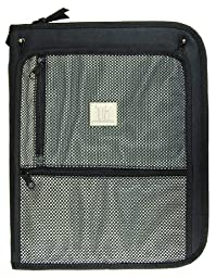 Top Flight Titanium Zipper Binder with 1.5 Inch Slant D-Rings, Foldout Pouch, CD Carrier and Interior File Pocket, 13.5 x 11 Inches, 1 Binder, Black/Silver (4511490)