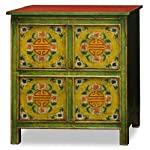 China Furniture Online Elmwood Cabinet, Vintage Hand-Painted Longevity and Floral Motif Tibetan Chest Green and Red
