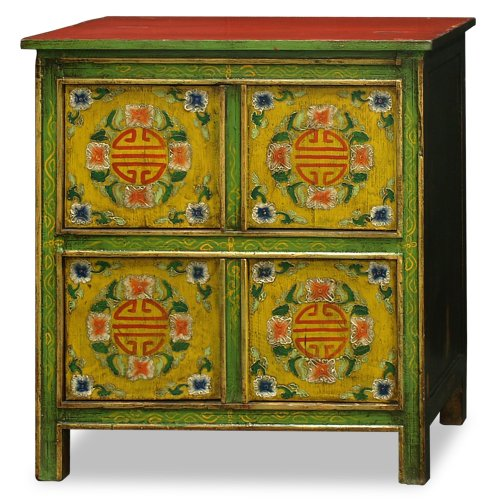 China Furniture Online Elmwood Cabinet, Vintage Hand-Painted Longevity and Floral Motif Tibetan Chest Green and Red 0