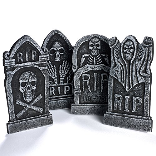 Pack-of-4-Halloween-Dcor-17-Foam-RIP-Graveyard-Tombstone-Halloween-Decorations-RIP
