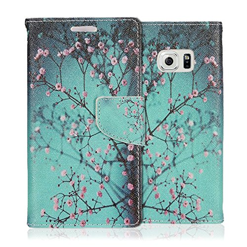Samsung Galaxy S7 Case, JoJoGoldStar Bicast PU Leather Folio Wallet with Card Slots and Kickstand, Includes Stylus Pen, Wristlet, and Screen Protector - Cherry Blossoms Wristlet Cherry