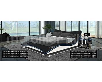 lit design noir gloria 200cmx200cm 200cmx200cm avec matelas special dos reveluxe. Black Bedroom Furniture Sets. Home Design Ideas