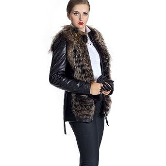 Lederjacke - SERENA Damen Jacke schwarz Lammnappa Echtleder mit Raccoon