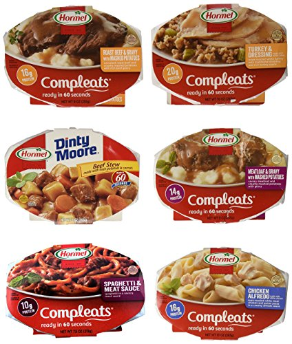 Hormel Compleats Meals - Variety Flavors (6 Count - 7.5 to 10 Ounce Microwavable Bowls) - Beef Stew, Meatloaf, Roast Beef, Spaghetti, Chicken Alfredo, Turkey Dressing (Packaged Meals compare prices)