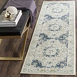 Safavieh Evoke Collection EVK220C Ivory and Blue Vintage Runner, 2 feet 2 inches by 9 feet (2\'2\