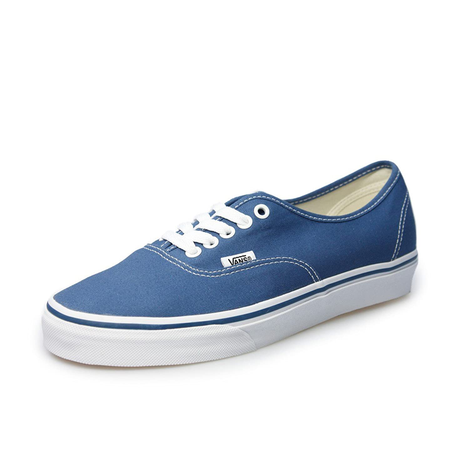Vans Authentic Unisex Navy White Canvas Vulcanised Skate Trainers Shoes VEE3NVY-UK 5 vik max factory outlet white figure skate shoes two size left ice skate shoes cheap figure skate shoes
