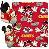 NFL Kansas City Chiefs Mickey Mouse Pillow with Fleece Throw Blanket Set