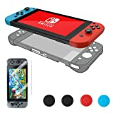 Nintendo Switch Case, Vorida Crystal Case Hard Back Clear Cover Anti-Scratch & Shock-Absorption 9H Tempered Glass Screen Protector + Joy Con Grip Caps, Grey (Color: Grey)