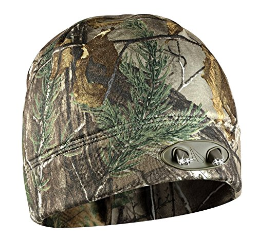 LED Beanie Hat - 4 Ultra Bright Lights - Super Comfortable and Warm - Real Tree Camo - Hands Free