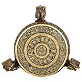 Kapasi Handicrafts Dragan Brass Mata ki Chowki / Bajot / Table/ Patla / Stool ( 10 x 8 x 5 Inches)