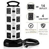 USB Power Strip Tower,Surge Protector Power Strip Tower with 4 USB Slot(5V/2.1A with Smart Charging Technology) 14 Outlet Plugs,Overload Protection for iPhone/iPad,6.6 ft Retractable Extension Cord (Color: 14 Outlet Plugs 4 USB Slot)