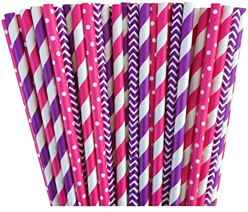 Pink and Purple Chevron and Stripe Paper Straws -Birthday Wedding or Baby Shower Party Supply 100%Biodegradable 7.75 Inches Pack of 100