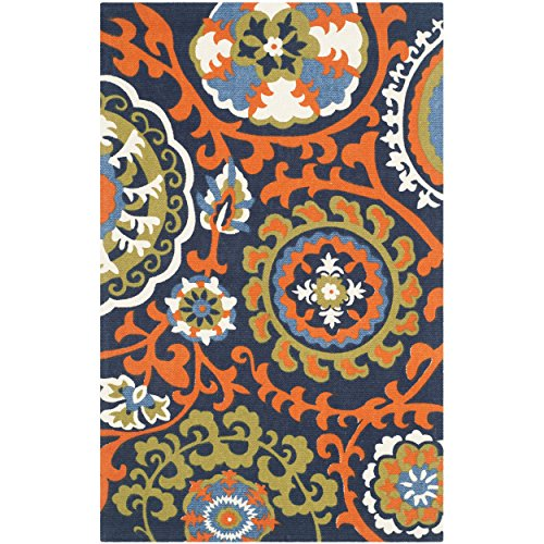Safavieh Cedar Brook Collection CDR132A Handmade Light Blue and Orange Cotton Area Rug, 2 feet 3 inches by 3 feet 9 inches (2'3