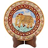 Sunny International Leather Round Plate With Wooden Stand & Velvet Bo Cm X X - 11 Cm X 7.5 Cm X 1.5 Cm