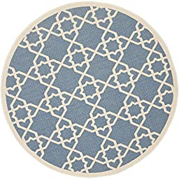 Safavieh Courtyard Collection CY6032-243 Blue and Beige Indoor/ Outdoor Round Area Rug, 5 feet 3 inches in Diameter (5\'3\