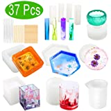 Resin Molds, WEST BAY 37Pcs Silicone Molds for Resin Epoxy Resin Casting Art Molds for DIY Cup Pen Soap Candle Holder Ashtray Flower Pot Coaster Pendant Cylinder Cuboid Hexagon Round Molds Test Mixer (Color: multicolored)