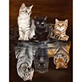 TeemorShop Reflection Cat 5D DIY Full Diamond Painting Embroidery Cross Stitch Kit Rhinestone Mosaic Home Decor Craft Kid Family Entertainment(45×55cm) (Color: multicolored, Tamaño: one size)