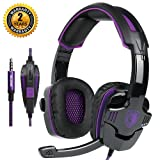 Game Headset Gaming Headphone Noise Cancelling Over Ear Headset SADES SA-930 USB 3.5mm Stereo Sound Music with Mic Volume Control LED light Gamer Headphone for PS4 New Xbox One Laptop Tablet PC Mobile (Color: Black_Purple)
