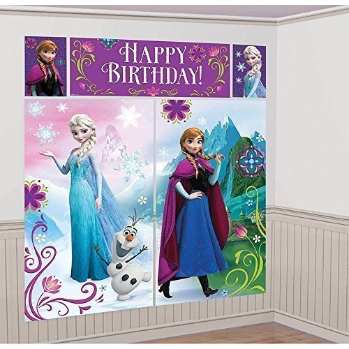 Disney Frozen Scene Setter Wall Decorations Kit - Kids Birthday and Party Supplies Decoration - 1