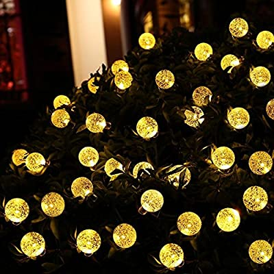 lederTEK Decorative Battery Operated Crystal Ball String Lights 30 LED 10.8ft Globe Lighting Décor 8 Modes Automatic Timer For Outdoor Indoor, Garden Patio, Bedroom, Christmas Decorations(Warm White)